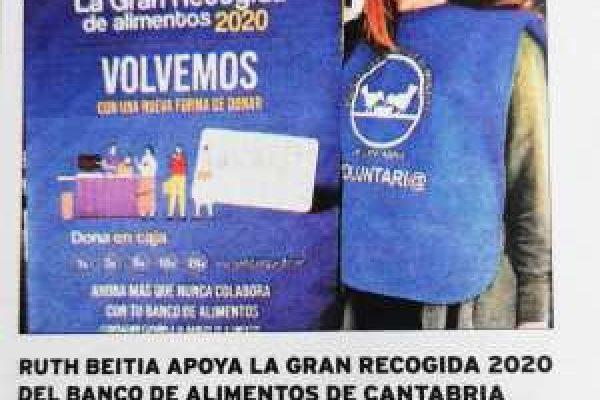 Ruth Beitia apoya la Gran recogida 2020 del Banco de alimentos de Cantabria